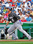 10 July 2011: Colorado Rockies All-Star shortstop Troy Tulowitzki in action against the Washington Nationals at Nationals Park in Washington, District of Columbia. The Nationals shut out the visiting Rockies 2-0 salvaging the last game their 3-game series at home prior to the All-Star break. Mandatory Credit: Ed Wolfstein Photo
