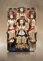 Gothic marble relief sculpture of the Coronation of the Virgin Mary made in London or York, 1420-1460.  National Museum of Catalan Art, Barcelona, Spain, inv no: MNAC  64124. Against a art background.