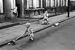 Kids playing in the street. Oswin Street, Elephant and Castle South central London SE11. England 1970.