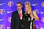 16 January 2015: Megan Oyster (UCLA), with NWSL commissioner Jeff Plush, was selected with the thirteenth overall pick by the Washington Spirit. The National Women's Soccer League Draft was held at the Pennsylvania Convention Center in Philadelphia, Pennsylvania.