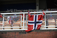 The Norweigan supporters proudly display they're National flag during the UEFA Womens U19 Championships at Stebonheath park Sunday 25th August 2013. All images are the copyright of Jeff Thomas Photography-www.jaypics.photoshelter.com-07837 386244-Any use of images must be authorised by the copyright owner.