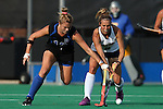 26 September 2014: Duke's Jessica Buttinger (CAN) (13) and California's Andrea Earle (right). The Duke University Blue Devils hosted the University of California Bears at Jack Katz Stadium in Durham, North Carolina in a 2014 NCAA Division I Field Hockey match. Duke won the game 2-0.