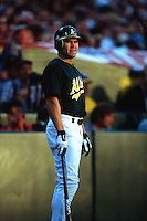 OAKLAND, CA - Portrait of Johnny Damon of the Oakland Athletics in action during a playoff game against the New York Yankees at the Oakland Coliseum in Oakland, California in 2001. Photo by Brad Mangin
