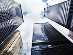 Long angle view on Toronto downtown TD towers high rise office buildings. Canada.