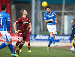St Johnstone v Motherwell&hellip;20.02.16   SPFL   McDiarmid Park, Perth<br />Simon Lappin heads clear from Louis Laing<br />Picture by Graeme Hart.<br />Copyright Perthshire Picture Agency<br />Tel: 01738 623350  Mobile: 07990 594431