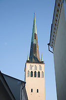 Photo of St. Olaf`s Church Tower in Old Tallinn, Estonia