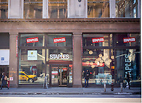 A Staples office supply store in  New York on Monday, March 2, 2015.  Staples reported a 3.7 percent drop in last quarters sales. Weak demand for technology related merchandise and a strong dollar are cited.  (© Richard B. Levine)