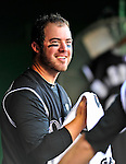 22 April 2010: Colorado Rockies' third baseman Ian Stewart smiles in the dugout after hitting a solo home run against the Washington Nationals at Nationals Park in Washington, DC. The Rockies shut out the Nationals 2-0 gaining a 2-2 series split. Mandatory Credit: Ed Wolfstein Photo