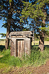 Derelict wooden outhouse behind a church, Pine City, Wash.
