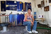 Festa Nazionale dell' Altra Economia. Roma. National Day for other economy. Rome..Linda Schipani. L'arte del riciclo.Recycle art...