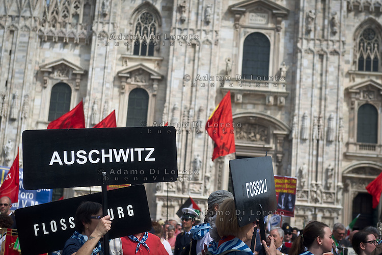 The veteran of Auschwitz in square Dome during 25 April demonstration italian liberation of Nazi Fascism World War II thanks by partigiani, on April 25, 2014. Photo: Adamo Di Loreto/BuenaVista*photo