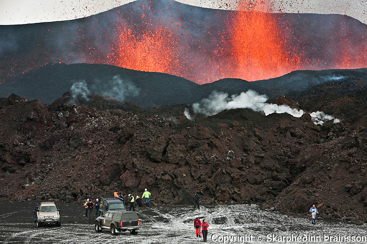 People have gathered to view the erupting volcano on Fimmvörðuháls/Eyjafjallajökull, south Iceland