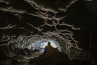 Inside of Pure Imagination Cave in Sandy Glacier on Mt Hood.