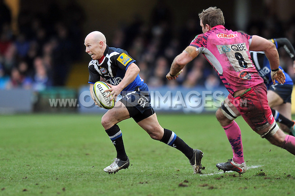 Peter Stringer goes on the attack. LV= Cup match, between Bath Rugby and Exeter Chiefs on January 26, 2013 at the Recreation Ground in Bath, England. Photo by: Patrick Khachfe / Onside Images