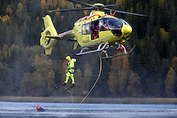 Norwegian Air Ambulance training area Camp Torpomoen. Pilots, doctors and rescue professionals<br /> practice various skills during a week of coordinated training.