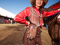 "Princess Katy West, preparing for her ""run in"" at The Pendleton RoundUp,  the largest outdoor rodeo in the world,"