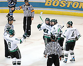 Justin Abdelkader (Michigan State - Muskegon, MI), Tim Kennedy (Michigan State - Buffalo, NY), Chris Snavely (Michigan State - Lancaster, PA), Tim Crowder (Michigan State - Victoria, BC) and Ethan Graham (Michigan State - Xenia, OH) celebrate Snavely's tying goal. The Michigan State Spartans defeated the University of Maine Black Bears 4-2 in their 2007 Frozen Four semi-final on Thursday, April 5, 2007, at the Scottrade Center in St. Louis, Missouri.