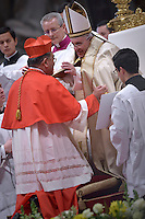 Cardinal Francis Xavier Kriengsak Kovithavanij, i.Pope Francis,during a consistory for the creation of new Cardinals at St. Peter's Basilica in Vatican.February 14, 2015