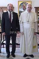 Pope Francis during meeting European Parliament president Martin Schulz at the end of their private audience at the Vatican on October 30, 2014.