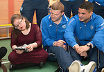 St Johnstone players visit Fairview School in Perth.....19.12.13<br /> Brian Easton and Gary Miller is pictured playing pass the parcel Mhari Brown<br /> Picture by Graeme Hart.<br /> Copyright Perthshire Picture Agency<br /> Tel: 01738 623350  Mobile: 07990 594431