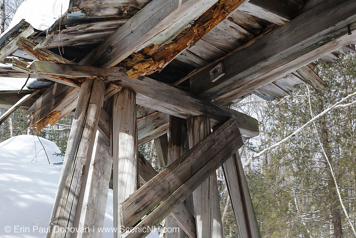 The underside of Trestle 16 (Black Brook Trestle) along the old East Branch & Lincoln Railroad in the Pemigewasset Wilderness of Lincoln, New Hampshire. The EB&L was a logging railroad which operated from 1893-1948.