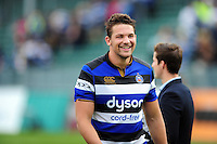 Charlie Ewels of Bath Rugby is all smiles after the match. Aviva Premiership match, between Bath Rugby and Newcastle Falcons on September 10, 2016 at the Recreation Ground in Bath, England. Photo by: Patrick Khachfe / Onside Images