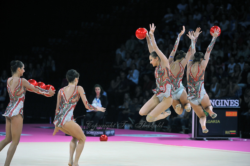 September 24, 2011; Montpellier, France;  Bulgaria group performs with 5-balls routine at 2011 World Championships Montpellier. Photo by Tom Theobald.