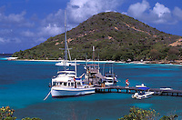 Sail boat at pier, Petit St. Vincent, The Grenadines, Caribbean