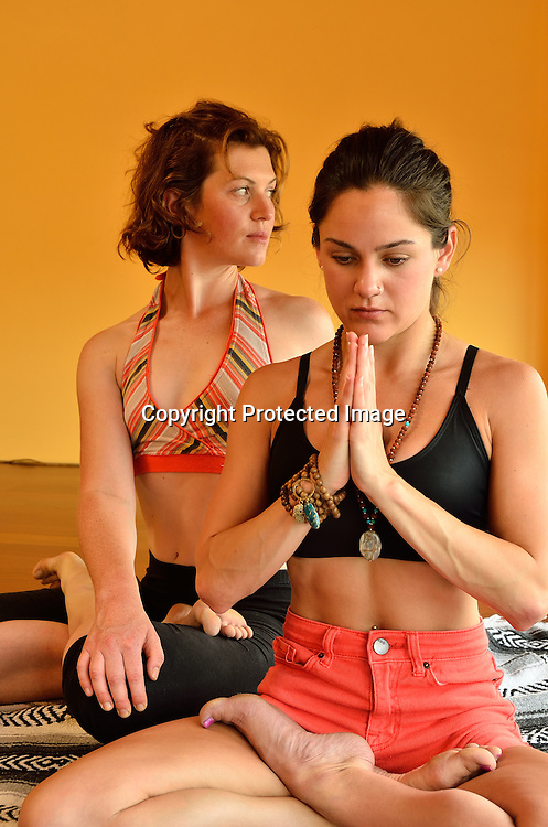 Woman enjoying Yoga stock photo