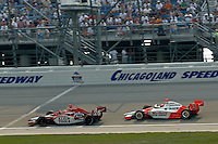 11 September, 2005, Joliet,IL,USA<br /> Dan Wheldon leads #3 Helio Castroneves in the closing laps.<br /> Copyright&copy;F.Peirce Williams 2005
