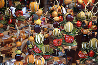 Christmas decorations on sale at Fete de Noel in Toulouse, France.