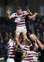 Jarrad Hoeata of Cardiff Blues wins the ball at a lineout. European Rugby Challenge Cup match, between Bath Rugby and Cardiff Blues on December 15, 2016 at the Recreation Ground in Bath, England. Photo by: Patrick Khachfe / Onside Images