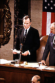 United States Vice President George H.W. Bush reads the result of the Electoral College vote during a Joint Session of the United States Congress on January 4, 1989.  Bush received 426 electoral votes and his Democratic opponent  Michael Dukakis received 111.  Bush was thereby elected the 41st President of the United States.<br /> Credit: Ron Sachs / CNP