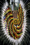 Native American, Fancy Dance feathered tradition bustle regalia at East Coast pow wow - Queens, NY ..