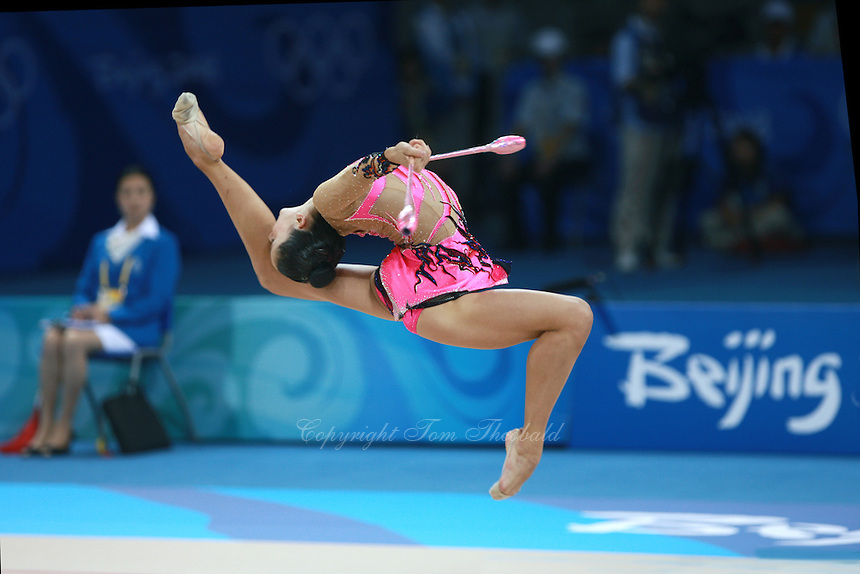 August 22, 2008; Beijing, China; Rhythmic gymnast Neta Rivkin of Israel performs with clubs on way to placing 14th in qualifying round at 2008 Beijing Olympics. Copyright 2008 Tom Theobald