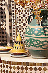 A yellow and white tiled balcony in Marrakesh, Morocco.