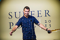 North Shore, Oahu, Hawaii (Friday, December 6, 2013) Joel Parkinson (AUS). &ndash; The 44th Annual Surfer Poll Awards  were held tonight at the Turtle Bay Resort on the North Shore of O&rsquo;ahu. The ceremony brought together the best surfers, filmmakers, and surf legends all under one roof to honor the best films and performances of the year.<br /> <br /> Each year the SURFER staff pores through all of the full-length films and web shorts produced that year, narrowing down hundreds of great rides and notable moments to just a handful of nominees. And while it&rsquo;s always a challenge, this year there was one surfer/co-director who dominated the movie categories: John John Florence (HAW). Not only was he voted second in the reader poll, he also took home Best Performance for his surfing in Done, Best Short for his film Begin Again and Movie of the Year for Done, both of which he co-directed with Blake Kueny (USA).<br /> <br /> For the Men&rsquo;s reader poll, it came as no surprise that once again Kelly Slater (USA) who took the No. 1 slot, making this his 19th Surfer Poll win since he first topped the list in 1993. On the women&rsquo;s side of the poll, it was Alana Blanchard (HAW) who was voted into the top slot over current World Champion Carissa Moore  (HAW) (Women&rsquo;s No. 3) and five-time World Champion Steph Gilmore (AUS) (Women&rsquo;s No 5). This is her first time winning the Women&rsquo;s No. 1 award, up from No. 2 in 2012.  Photo: joliphotos.com