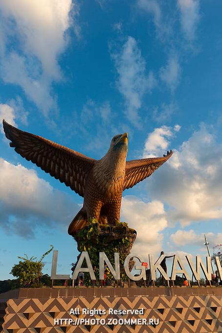 Eagle monument at sunset on beautiful skies, Langkawi, Malaysia
