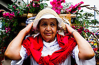 A woman takes part during the 58th Silleteros' parade in the framework of the flowers' fair, this year the parade was declared intangible heritage of Colombia. Medellín, Colombia 09/08/2015
