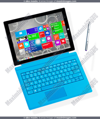 Microsoft Surface Pro 3 tablet computer with a pen suspended in mid-air isolated on white background