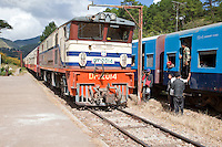 Myanmar, Burma.  Diesel Locomotive in Kalaw Train Station.