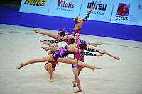 Senior rhythmic group from Great Britain performs at 2010 World Cup at Portimao, Portugal on March 11, 2010.  (Photo by Tom Theobald).