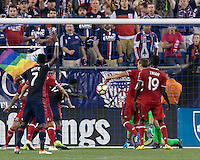 Foxborough, Massachusetts - August 9, 2016: First half action. 2016 Lamar Hunt U.S Open Cup Semifinal, New England Revolution (blue) defeated Chicago Fire (red), 3-1, at Gillette Stadium.<br /> Je-Vaughn Watson scoring effort.