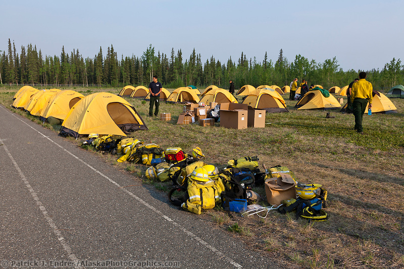 Firefighters camp at the football field of the Tok highschool, Eagle Trail forest fire near Tok, Alaska, May, 2010.