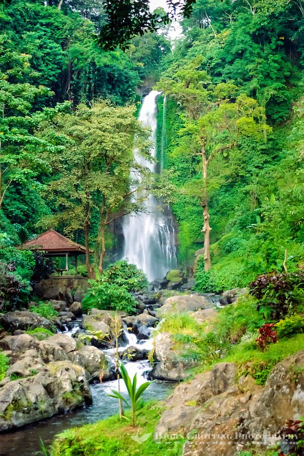 Bali, Buleleng, Singaraja. The Gitgit waterfall south of Singaraja is a popular attraction.