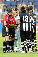 Newcastle United players shake hands with the officals and Sporting KC players prior to the game... Sporting Kansas City and Newcastle United played to a 0-0 tie in an international friendly at LIVESTRONG Sporting Park, Kansas City, Kansas.