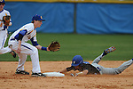 Oxford High's James Lear (1) takes the throw as Saltillo's R.J. Dye steals second in Oxford, Miss. on Tuesday, March 29, 2011. Saltillo won 14-4.