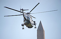 Marine One, with United States President Barack Obama aboard, departs the White House in Washington, DC to transport the President as he will make campaign stops in Fayetteville and Charlotte, North Carolina for Democratic presidential candidate Hillary Clinton on Friday, November 4, 2016.  He will return late tonight.<br />