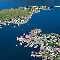 Aerial view of village of Reine, Moskenesoya, Lofoten islands, Norway