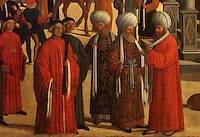 Detail from Episodi della vita di San Marco, or Scenes from the Life of St Mark, with men in the square wearing European and Mamluk costumes, 1525-26, Renaissance painting by Giovanni Mansueti, 1465-1527, in the Gallerie dell'Accademia, Venice, Italy. The scene is set in a square in Alexandria, with Venetian inspired architecture and crowds of European and Mamluk men. This was 1 of 3 paintings completed by Mansueti for the Scuola Grande di San Marco. Picture by Manuel Cohen